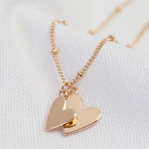 FALLING HEARTS SATELLITE CHAIN NECKLACE ROSE GOLD